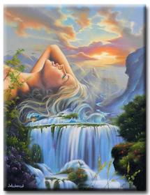 Diamanttavla Waterfall Girl 50x70
