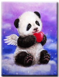 Diamanttavla Panda Love 30x40