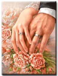Diamanttavla Rose Hands Rings 50x70