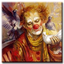 Diamanttavla (R) Clown Med Duvor 50x50