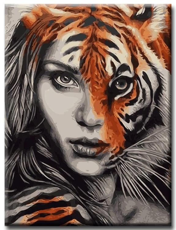 Diamanttavla Tigerwoman 40x50