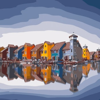 Paint By Numbers Seaside Houses 40x50