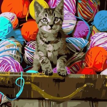 Paint By Numbers Katt I Garnlåda 40x50