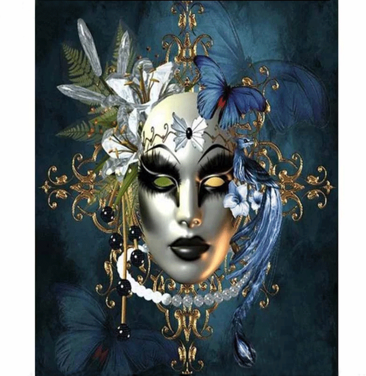 Diamanttavla Butterfly Mask 40x50