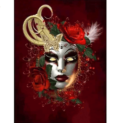 Diamanttavla Mask Red 40x50