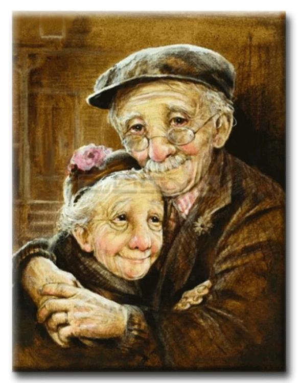 Diamanttavla Old Love Couple 50x70
