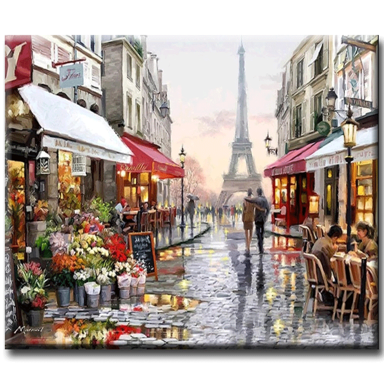 Diamanttavla Paris Walking 50x70