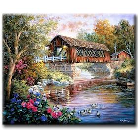 Diamanttavla Forest Bridge House 50x70