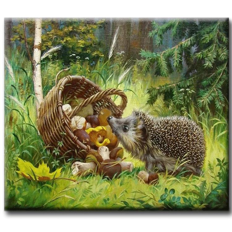 Diamanttavla Hedgehog And Mushrooms 40x50
