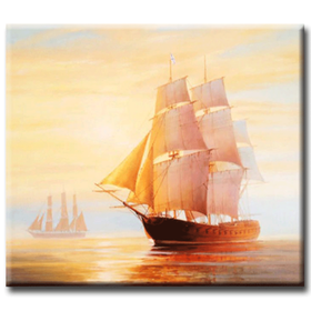 Diamanttavla Sunset Ship 40x50