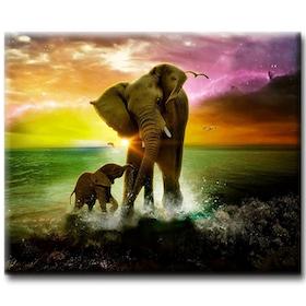 Diamanttavla Elefanter Vattenlek 40x50