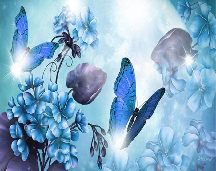 Diamanttavla Blue Butterflies And Flowers 40x50