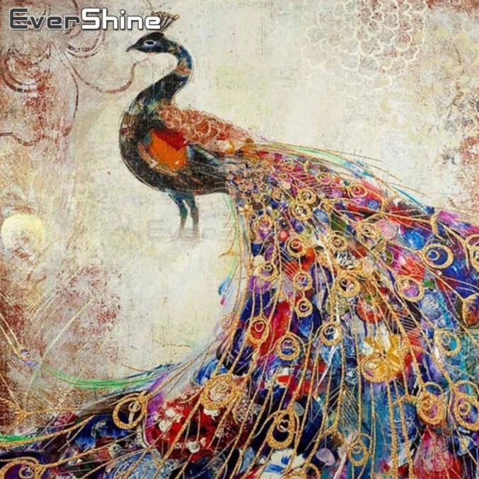 Diamanttavla Vintage Peacock 50x50