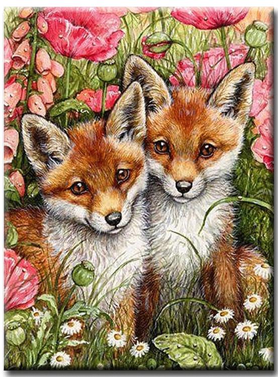 Diamanttavla (R) Fox Puppies 40x50