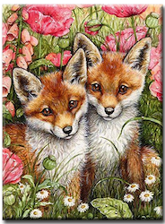 Diamanttavla (R) Fox Puppies 40x50