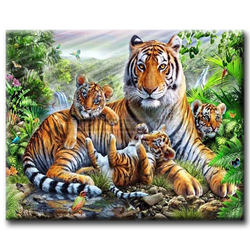 Diamanttavla Tiger Family 40x50