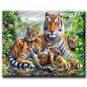 Diamanttavla Tiger Family 40x50