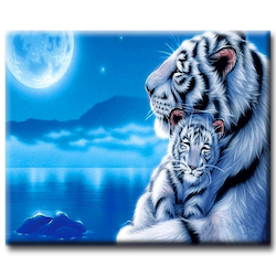 Diamanttavla Tigers Blue Moon 40x50