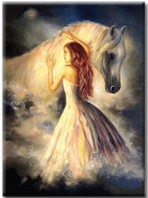 Diamanttavla Horse And Girl 50x70