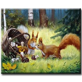 Diamanttavla Squirrel And Mushrooms 50x60