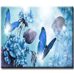 Diamanttavla Blue Butterflies And Flowers 40x50
