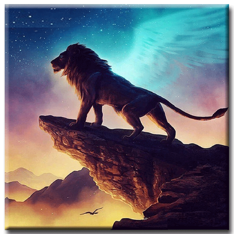 Diamanttavla Lion With Wings 50x50
