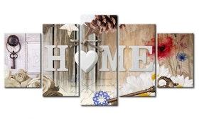 Diamanttavla 5 Delad Home White Heart