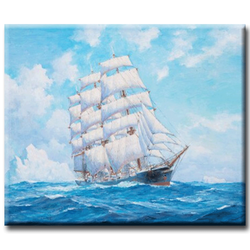 Diamanttavla Sailboat At Sea 50x70