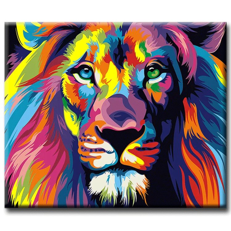 Diamanttavla Colorful Lion 40x50