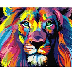 Diamanttavla Colorful Lion 40x50