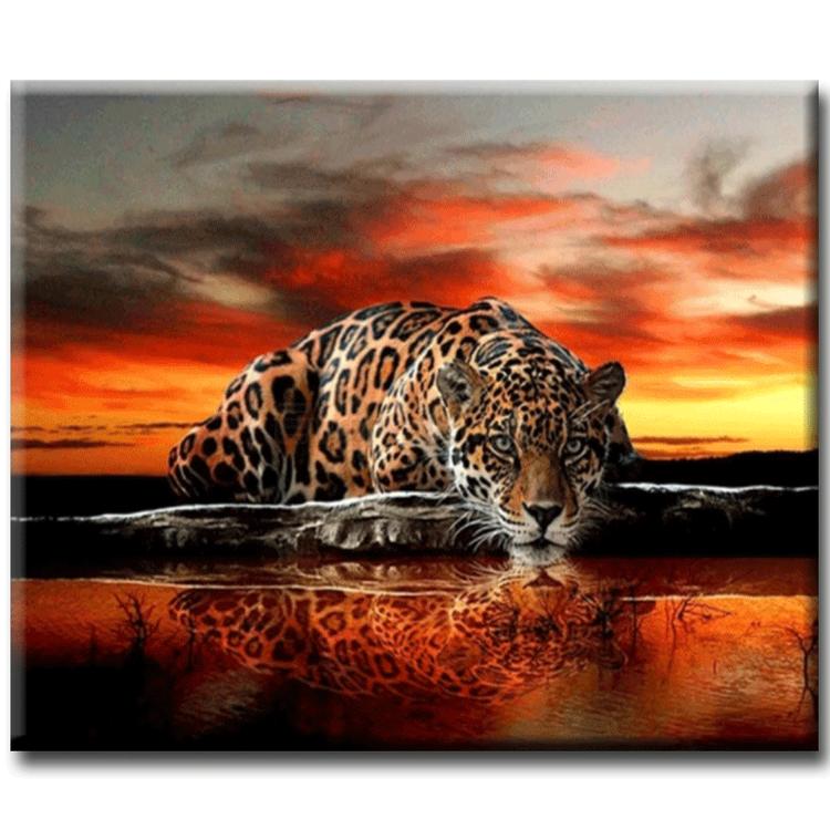 Diamanttavla Leopard I Solnedgång 70x50