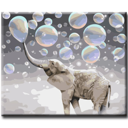 Paint By Numbers Elephant Bubbles 40x50