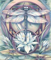 Diamanttavla Dragonfly Lotus 40x50