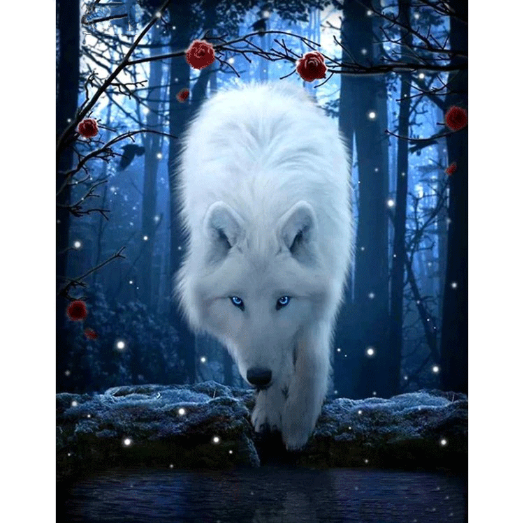 Diamanttavla Forest Wolf 50x60