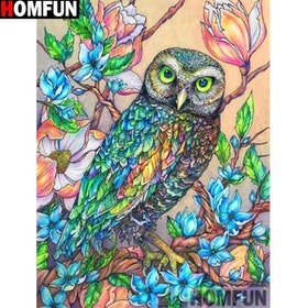 Diamanttavla Owl Flowertree 40x50