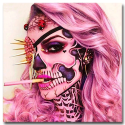 Diamanttavla Pink Skull Beauty 50x50
