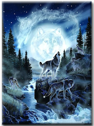 Diamanttavla (R) Forest Wolves 50x70