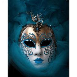 Diamanttavla Mask Blue And White 40x50