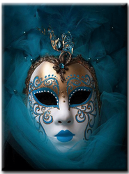 Diamanttavla Mask Blue And White 40x50