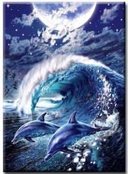 Diamanttavla (R) Moon Dolphin 40x50