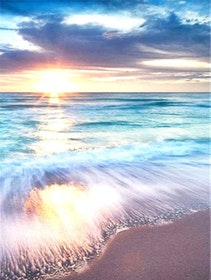 Diamanttavla Beautiful Beach 40x50