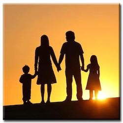 Diamanttavla (R) Family Sunset 50x50