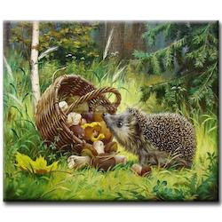 Diamanttavla (R) Hedgehog And Mushrooms 40x50