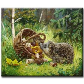 Diamanttavla (R) Hedgehog And Mushrooms 40x50