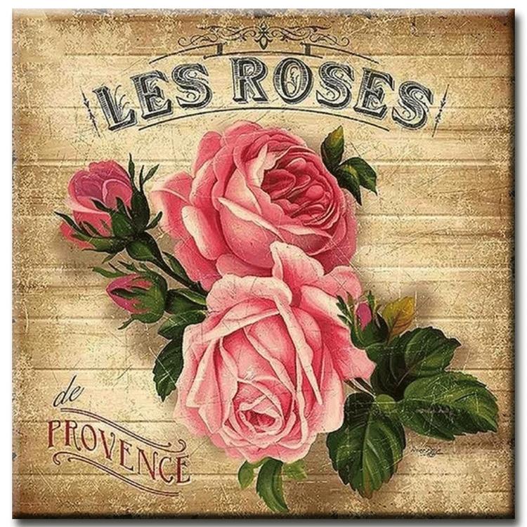 Diamanttavla Les Roses 50x50