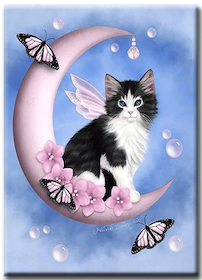 Diamanttavla (R) Kitten On Moon 40x50
