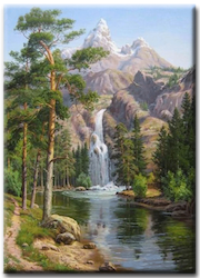 Diamanttavla Mountain Waterfall 40x50