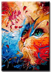 Diamanttavla (R) Painted Cat 40x50