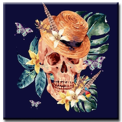 Diamanttavla Tropical Skull 50x50