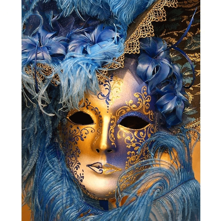 Diamanttavla Mask Gold And Blue 40x50